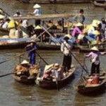 Floating market in chau doc