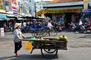coconut sales in Market in Chau Doc