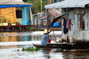 floating Cham village in Chau Doc
